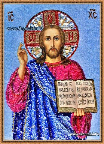 Вышивка бисером иконы Господь Вседержитель
