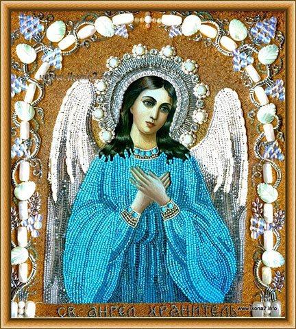Вышивка бисером и камнями иконы св Ангел Хранитель