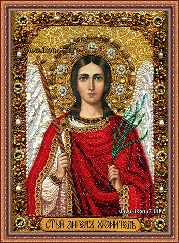 Икона Ангел Хранитель вышитая бисером