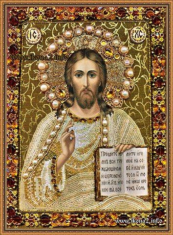 Вышивка бисером иконы Господа Вседержителя