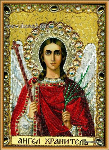 Вышивка бисером и камнями иконы святого Ангела Хранителя