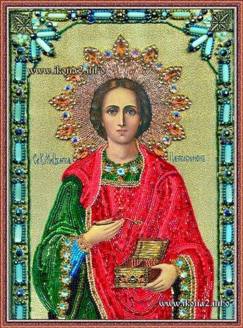 Икона Великомученик и целитель Пантелеймон бисером