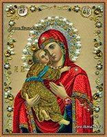 Икона Владимирской Богородицы бисером